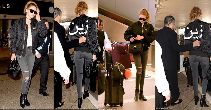 Gigi Hadid Pakai Jaket Bertuliskan Nama Zayn Malik dalam Bahasa Arab