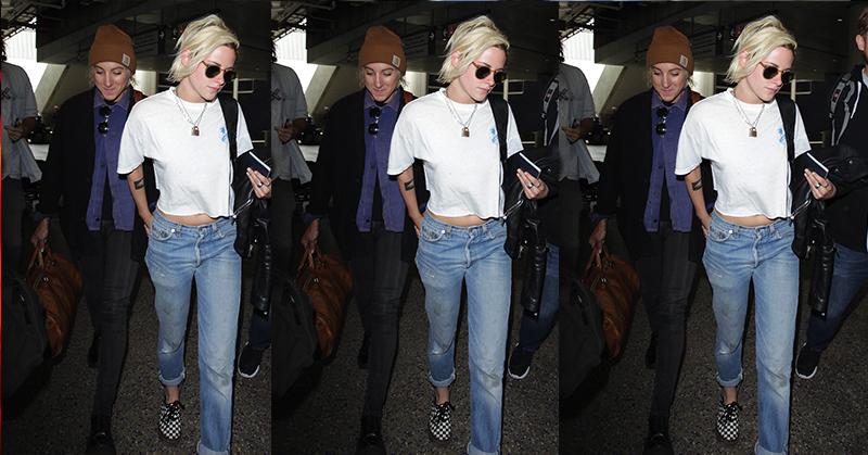 Kristen Stewart Tampil Stylish di Bandara