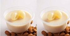 Es Puding Almond dengan Leci