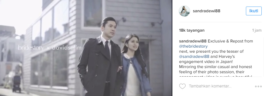 Romantisnya Video Pre Wedding Sandra Dewi